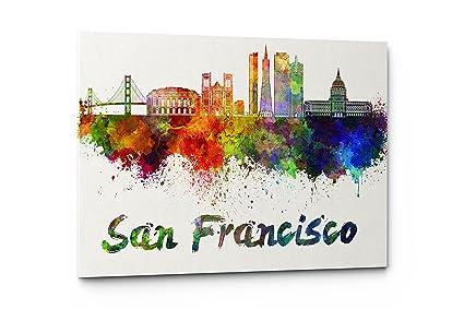 Amazon.com: Watercolor City Splash Skyline Wall Art Canvas Print ...