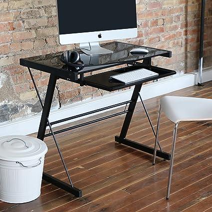 Amazoncom We Furniture 31 Glass Metal Computer Desk Black