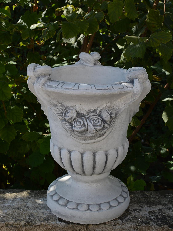 Wunderschönes Blumengefäß Motiv: Rosen aus Steinguss, frostfest