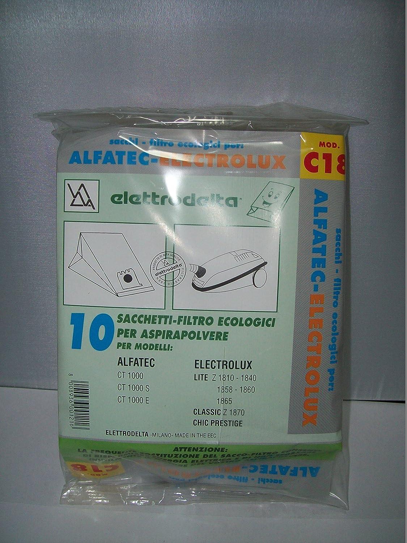 C18 - CONFEZIONE DA 10 SACCHI FILTRO PER ALFATEC CT 1000-CT 1000 S-CT 1000 E/ELECTROLUX LITE Z 1810-1840-1858-1860-1865-CLASSIC Z 1870-CHIC PRESTIGE TSI