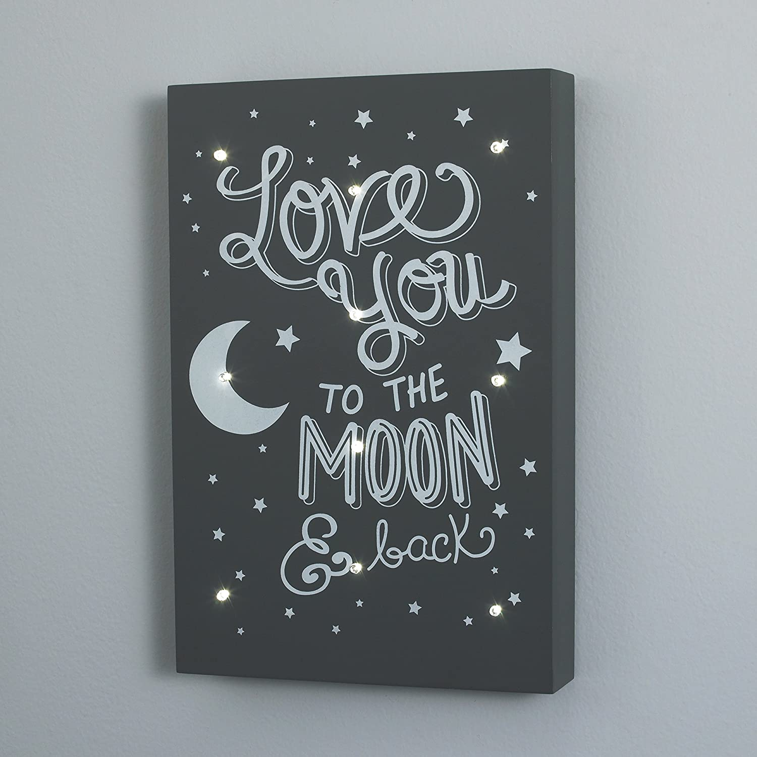 Love You to The Moon and Back Little Love by NoJo Celestial Lighted Wall Decor Gray//White Crown Crafts Inc 2617939