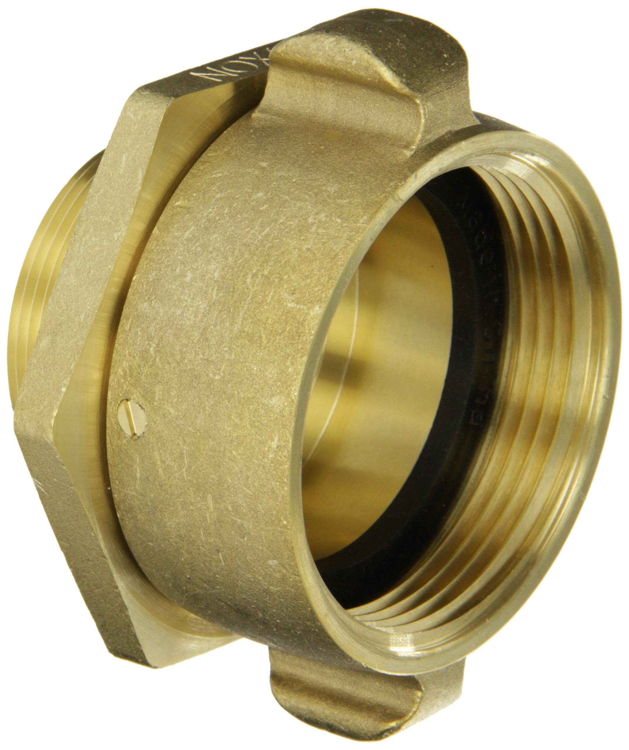 Dixon Valve RSM25F20T Brass Fire Equipment, Swivel Adapter with Rocker Lug, 2-1/2'' NST (NH) Female x 2'' NPT Male