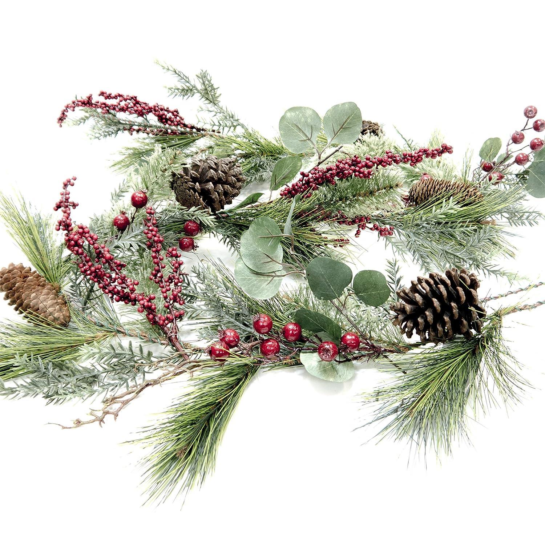 Brighton Pine Eucalyptus & Christmas Berry Garland - ChristmasTablescapeDecor.com