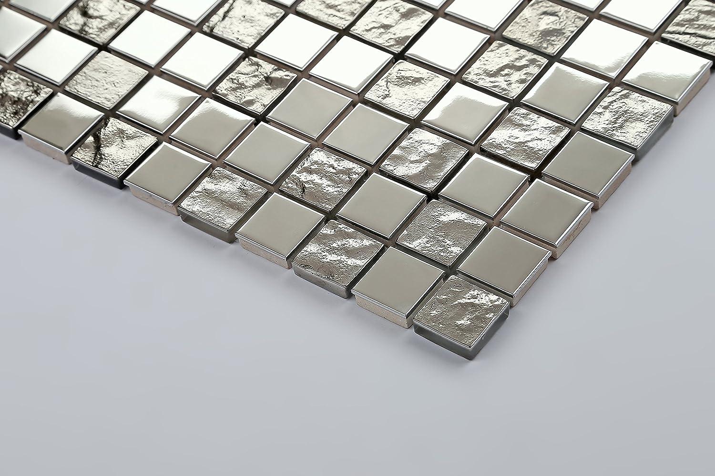 10cm x 10cm Muster MT0129 Sample Silber Edelstahl und texturiert Glas Mosaik Fliesen Muster
