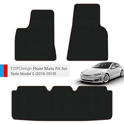 TOPDesign Hand-Stitched Carpet Car Floor Mats for Tesla Model S 2016 2020 2020 2020 Custom Fit (Black and Red Color Double Sewing Binding): Automotive