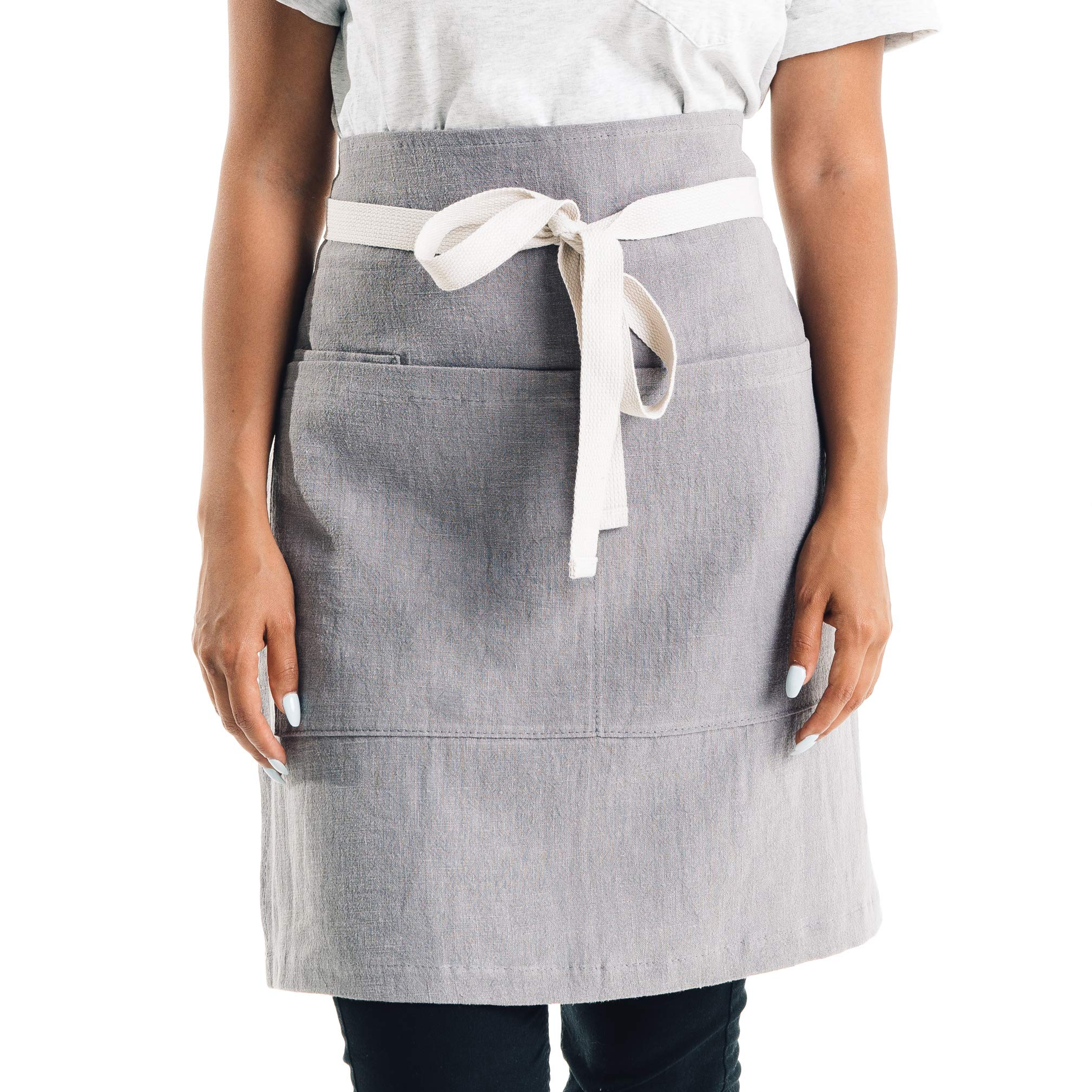 CALDO Linen Bistro Cafe Apron - Professional Grade with 3 Pockets, Mid Length 23 x 23, 40 Inch Waist Ties - Durable Unisex Uniform (Grey) by Caldo