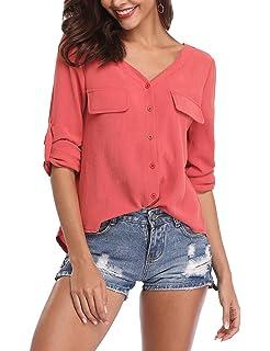 be5537511620d5 SIRUITON Bluse Damen Elegant Chiffon V-Ausschnitt Shirt Langarm Festliche  Blusen mit Einstellbare Ärmeln