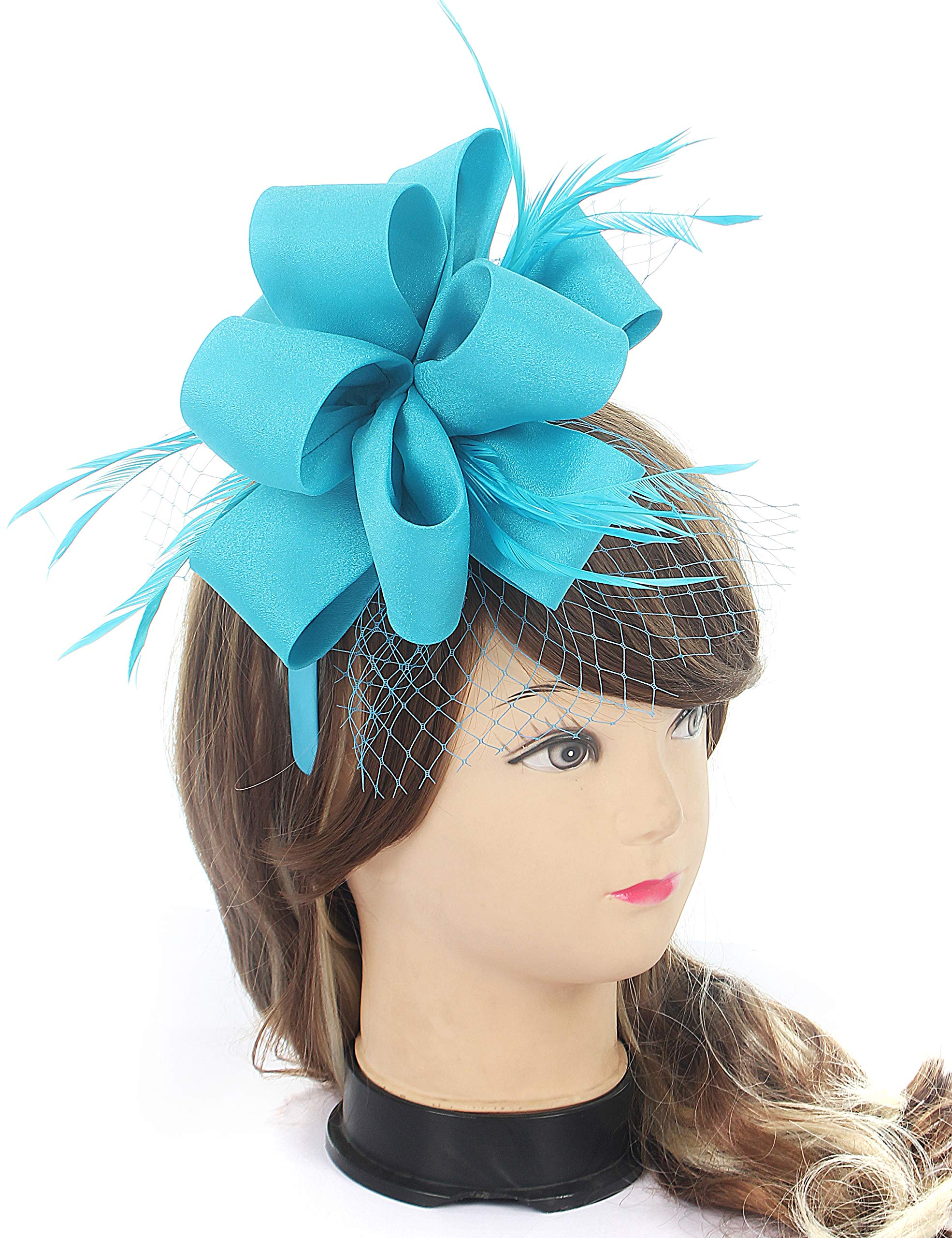 Myjoyday Fascinator Hats Satin Feather Mesh Headband Wedding Tea Party Headpieces for Girls and Women (Blue)
