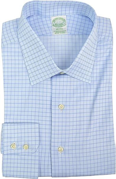 Brooks Brothers Milano - Camisa de algodón egipcio para hombre (cuello de 43 cm, manga de 94 cm), color azul claro: Amazon.es: Hogar