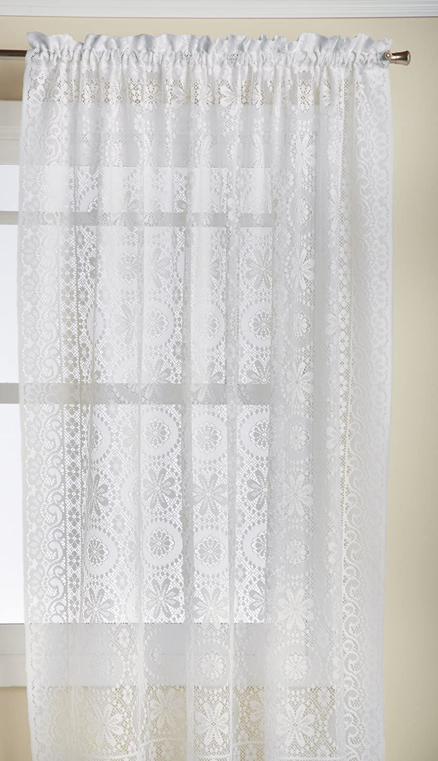 LORRAINE HOME FASHIONS Hopewell Lace Window Curtain Panel, 58-Inch by 84-Inch, White