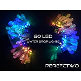 2 Pack Solar Strings Lights, Lemontec 20 Feet 30 LED Water Drop Solar Fairy Lights, Waterproof Lights for Garden, Patio, Yard, Home, Parties- Multi Color