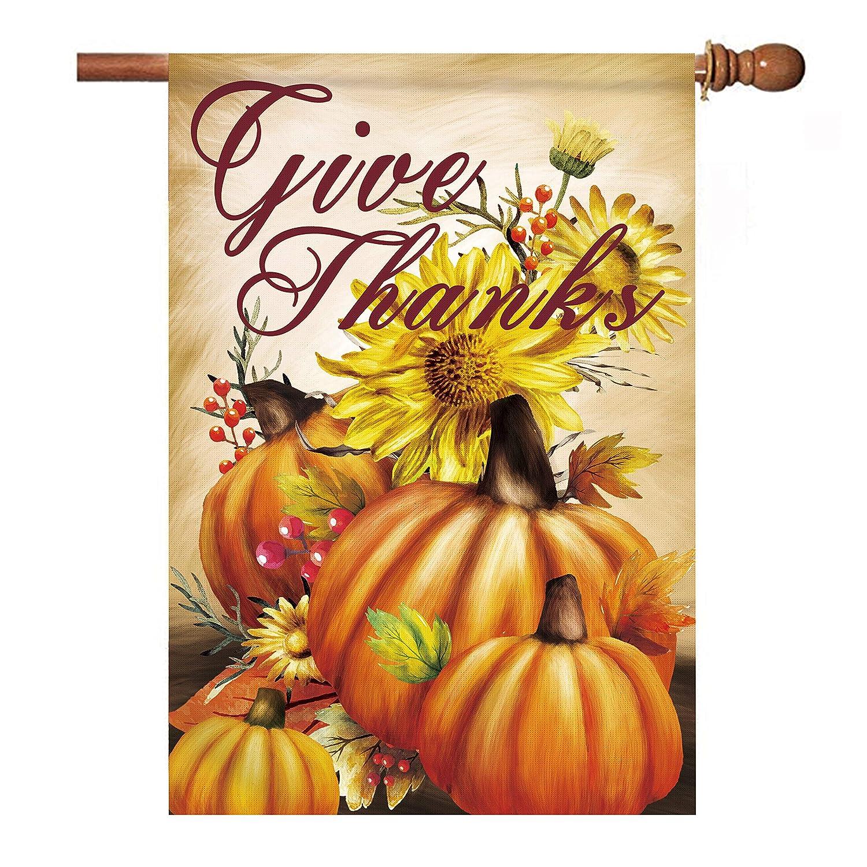 Hexagram Give Thanks Garden Flag 28 x 40 Inch Decorative Thanksgiving Harvest Fall Autumn Pumpkin House Flag