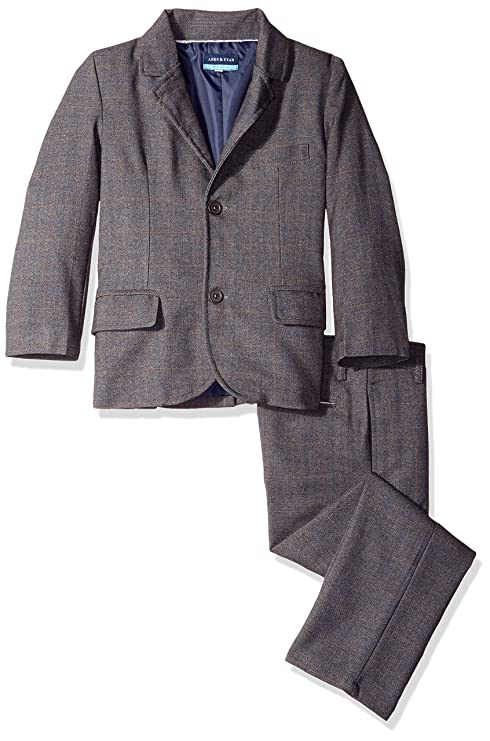 Andy & Evan Boys' Little Windowpane Check Suit 2 Piece Set, Grey, 7