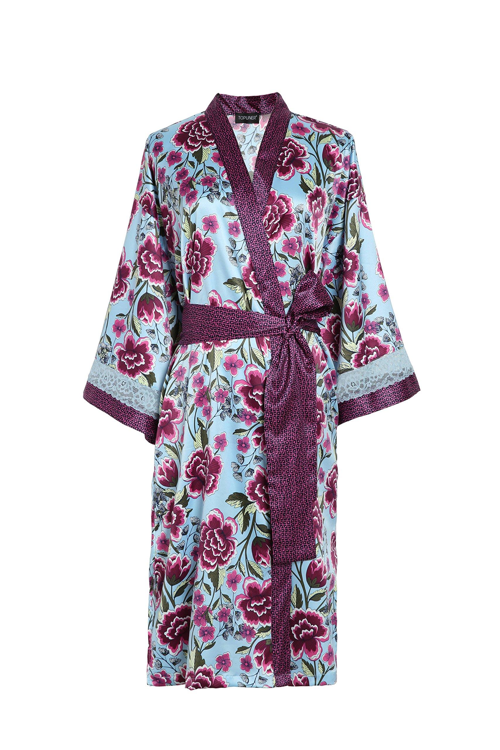 TOPUNER Womens' Summer Sleepwear Long Sleeves with Lace, Floral Print Silk Robe Kimono Bathrobe with Belt (L/XL)