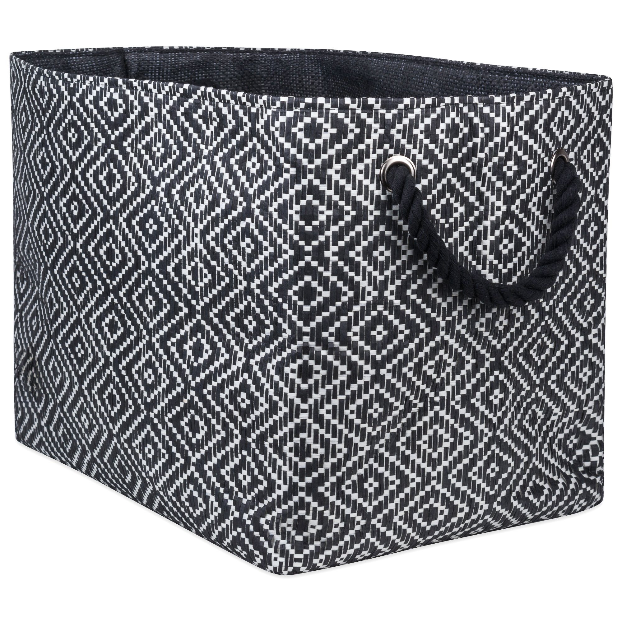"""DII Oversize Woven Paper Storage Basket or Bin, Collapsible & Convenient Home Organization Solution for Office, Bedroom, Closet, Toys, Laundry(Large - 17x12x12""""), Black & White Diamond Basketweave by DII (Image #1)"""