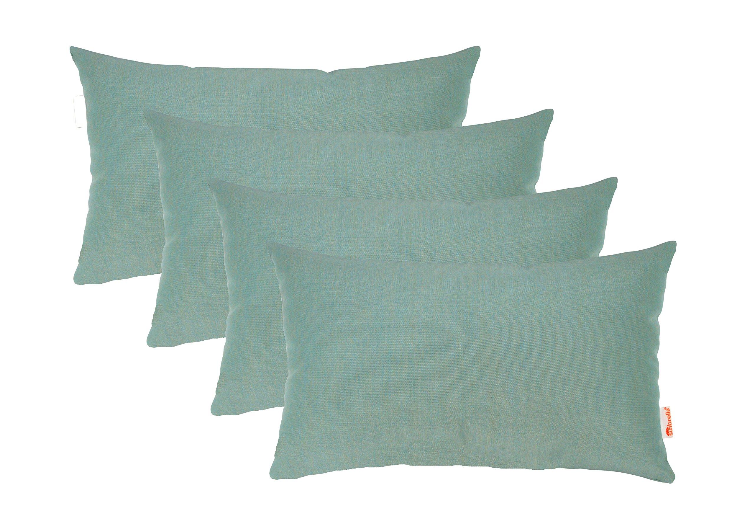RSH Décor Set of 4 Indoor/Outdoor Decorative Throw Pillows Sunbrella Canvas Spa - Choose Size (12'' x 20'')