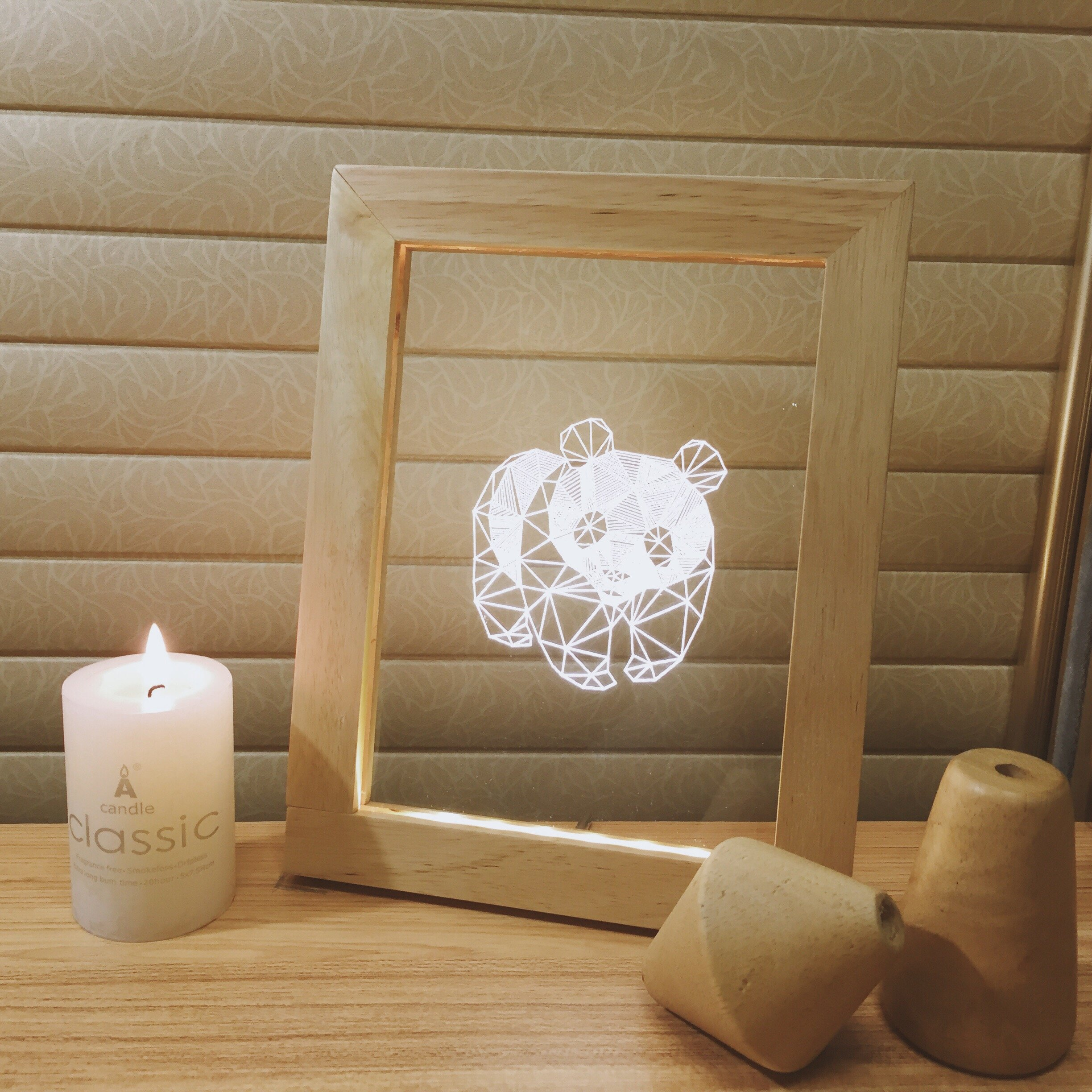 Wood Frame Night Lights, Fortune Cat Crane Panda Desk Lamp for Bedroom Living Room, Romantic Art Night Light for Kids and Adults, Decorate Holiday Party Atmosphere, 7.3x9.3x0.8 inches (Panda)
