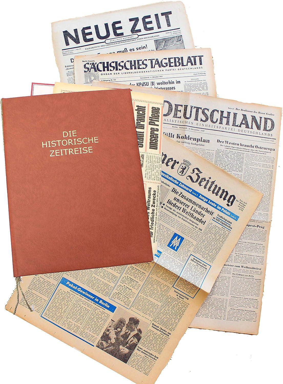 historische DDR-Zeitung inkl HISTORIA Zeitung aus der ehemaligen DDR vom Tag der Geburt 1956 Mappe /& Zertifikat als Geschenkidee
