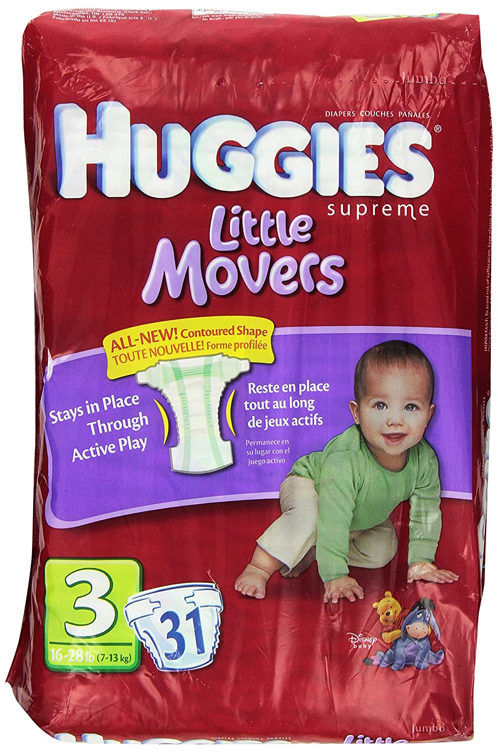 HUGGIES Supreme Little Movers Diapers, Jumbo Size 3, 16-28 lb 31-Count by Huggies: Amazon.es: Salud y cuidado personal