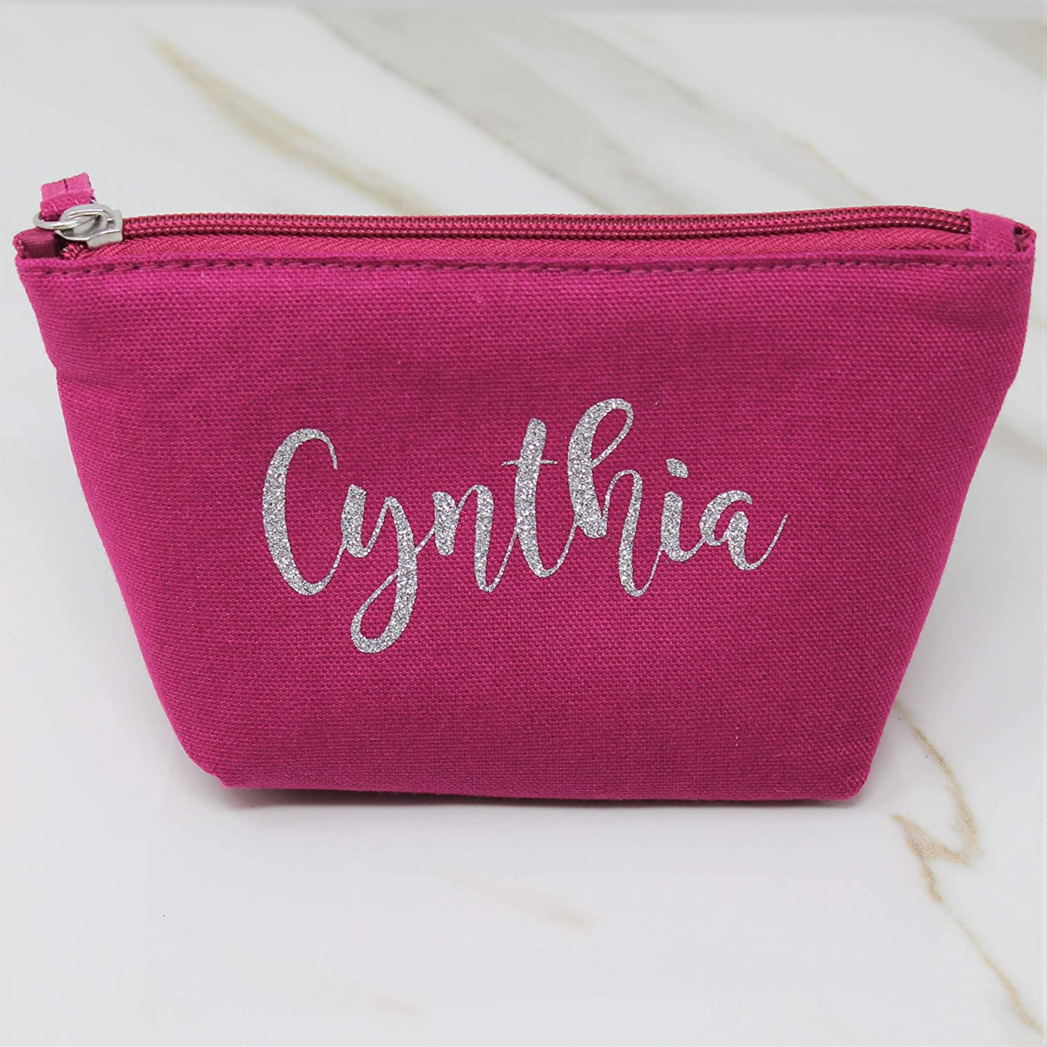 Personalized Pink Makeup Bag for Women Small Cosmetic Zipper Pouch