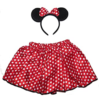 597015dde BEAUTIFUL MINNIE MOUSE EARS AND RED AND WHITE POLKA DOT SKIRT TUTU FOR KIDS  COSTUME: Amazon.co.uk: Toys & Games