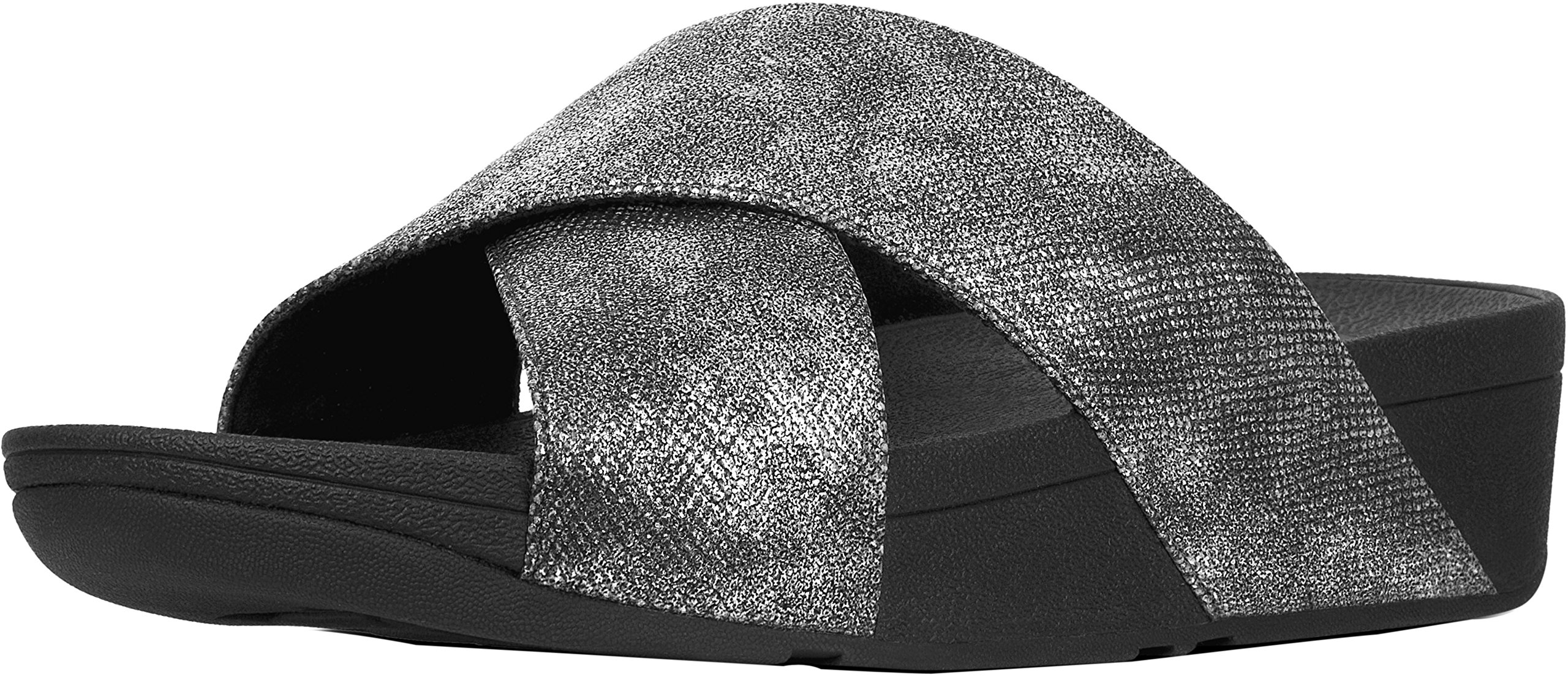 FitFlop Trade; Womens Lulu™ Cross Slide Sandals - Shimmer-Print, Black Shimmer Print, Size 8