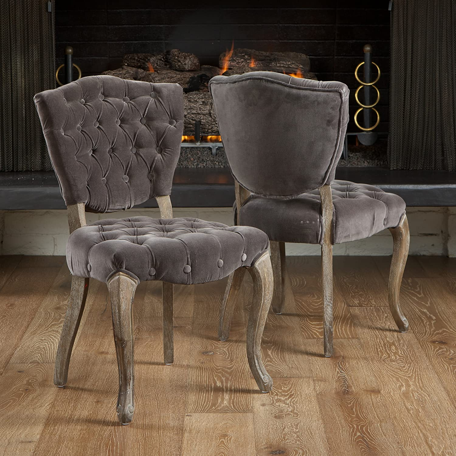 Christopher Knight Home 230343 Oakdale Button Tufted Fabric European Style Dining Chair Set of 2 Grey