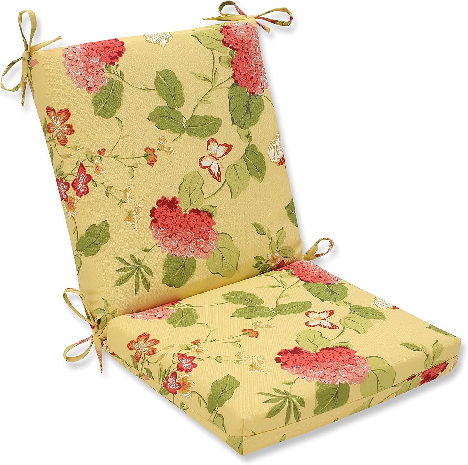 Pillow Perfect Outdoor Risa Squared Chair Cushion, Lemonade