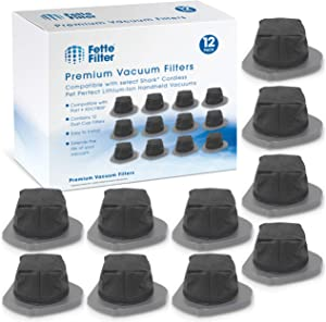 Fette Filter - Dust Cup Filter Compatible with Shark Cordless Pet Perfect Lithium-Ion Handheld Vacuums Models LV800 LV801 LV801C Compare to Part # XDCF800. (Pack of 12)