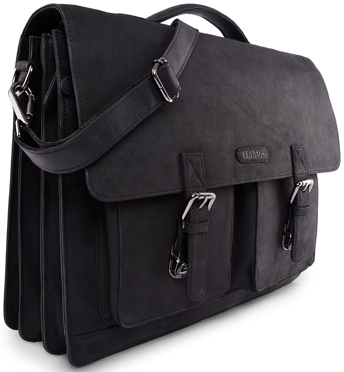 Amazon.com: LEABAGS Miami genuine buffalo leather briefcase in vintage style  - Black: Shoes