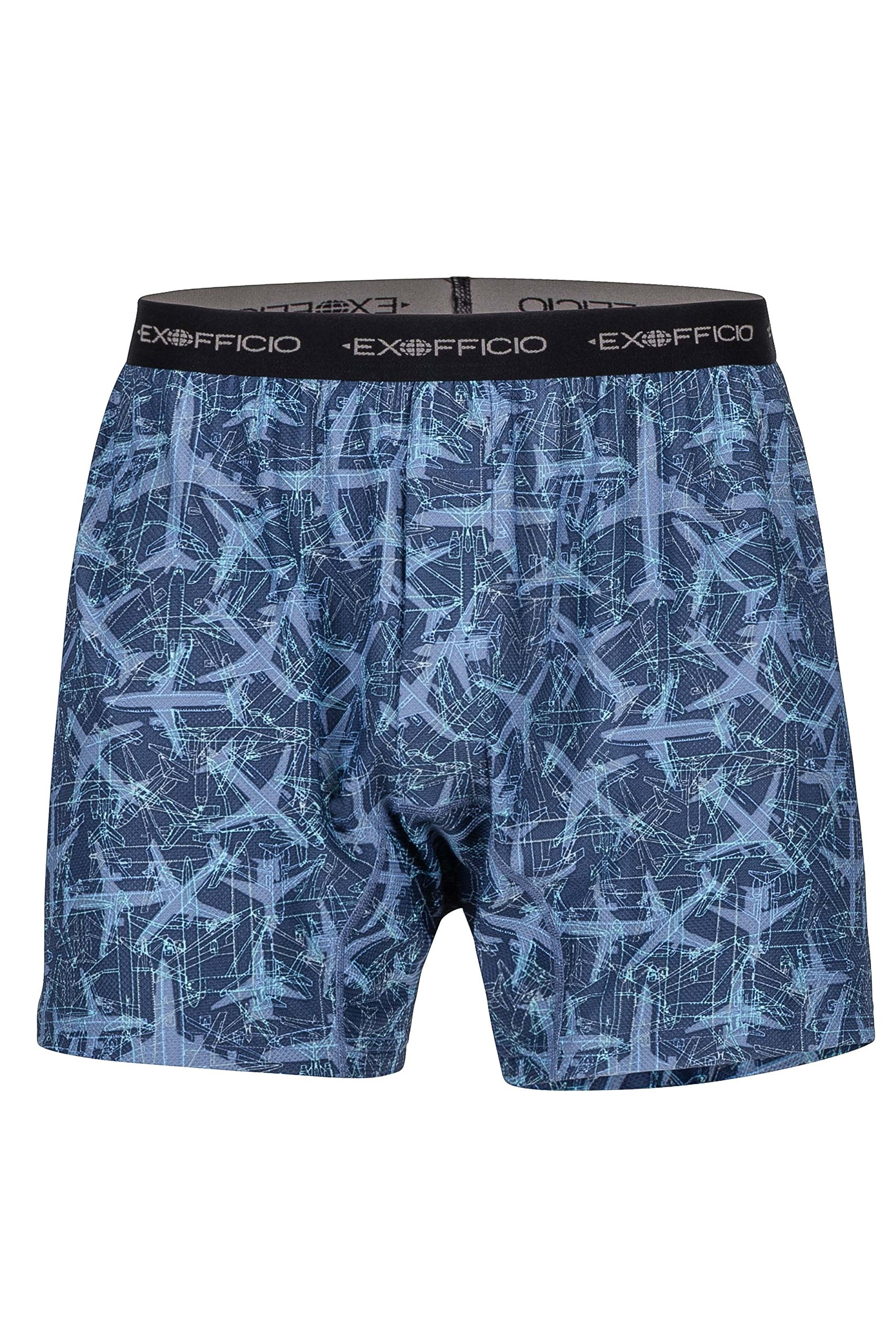 ExOfficio Men's Give-N-Go Print Boxer Shorts, Navy Planes, Medium by ExOfficio
