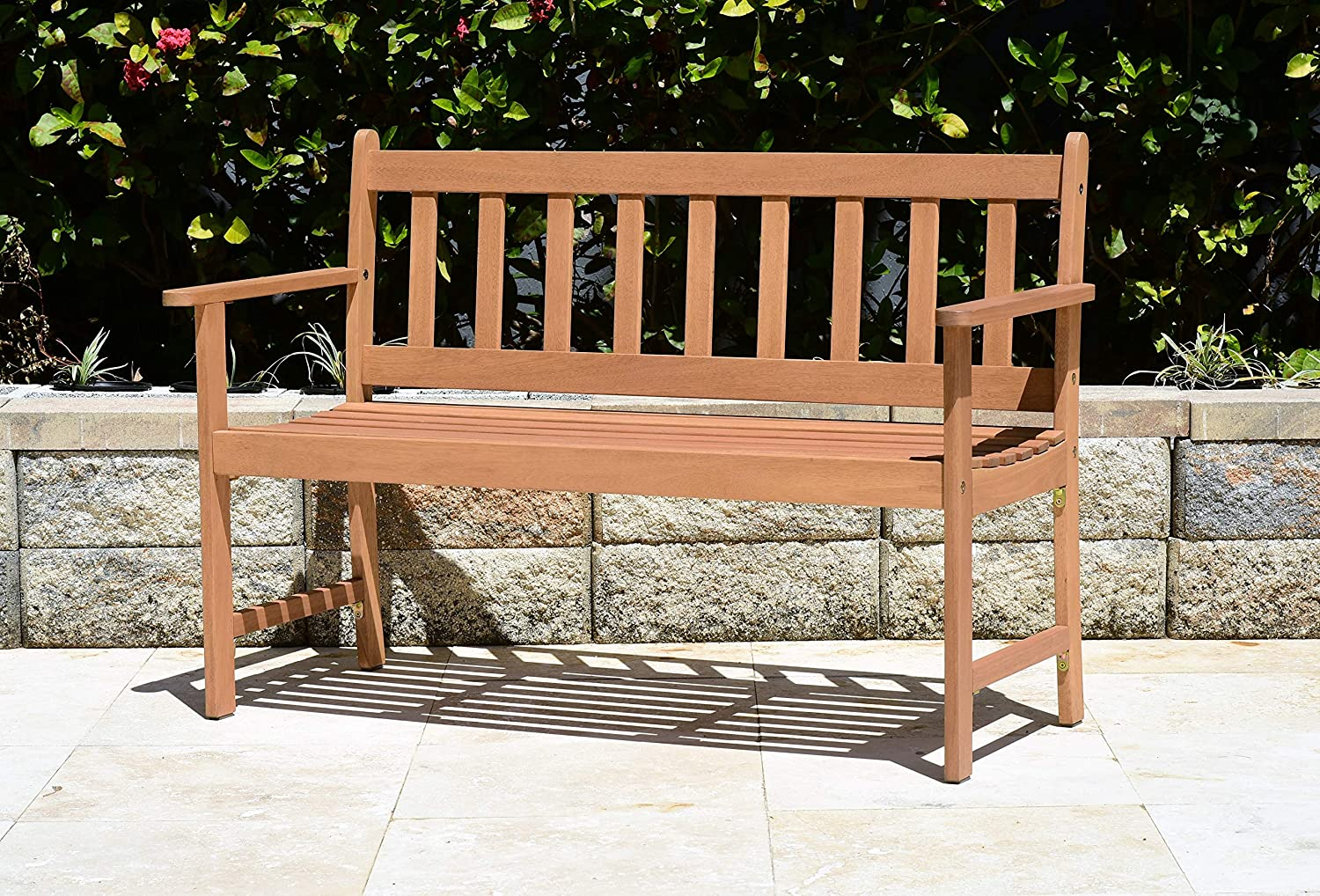 Brampton Omaha Outdoor Bench Teak Finish and 2-Seat Capacity Perfect for Patio and Backyards, Light Brown