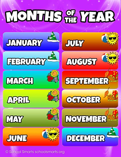 amazon com months of the year chart by school smarts fully