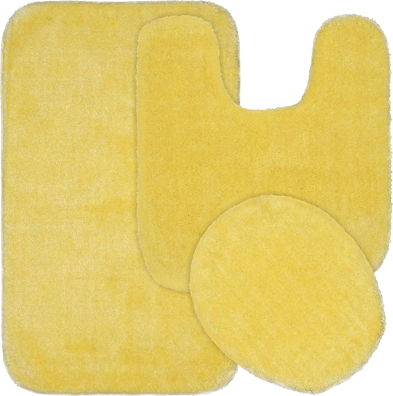 Garland Rug Traditional Bath Rug, 3-Piece Set, Rubber Ducky Yellow