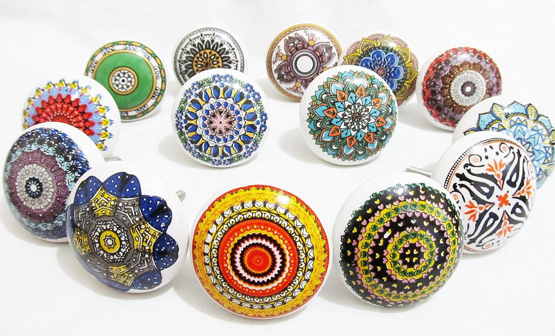 Set aus 6 MIX BUNT Vintage Look Keramik Knöpfe Griff Schublade ...