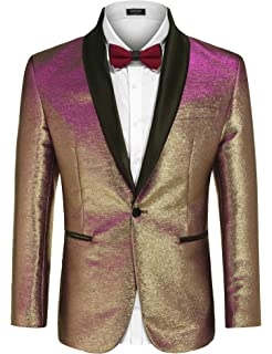 8ceccf42 COOFANDY Men's Fashion Suit Jacket Blazer One Button Luxury Weddings Party  Dinner Prom Tuxedo Gold Silver