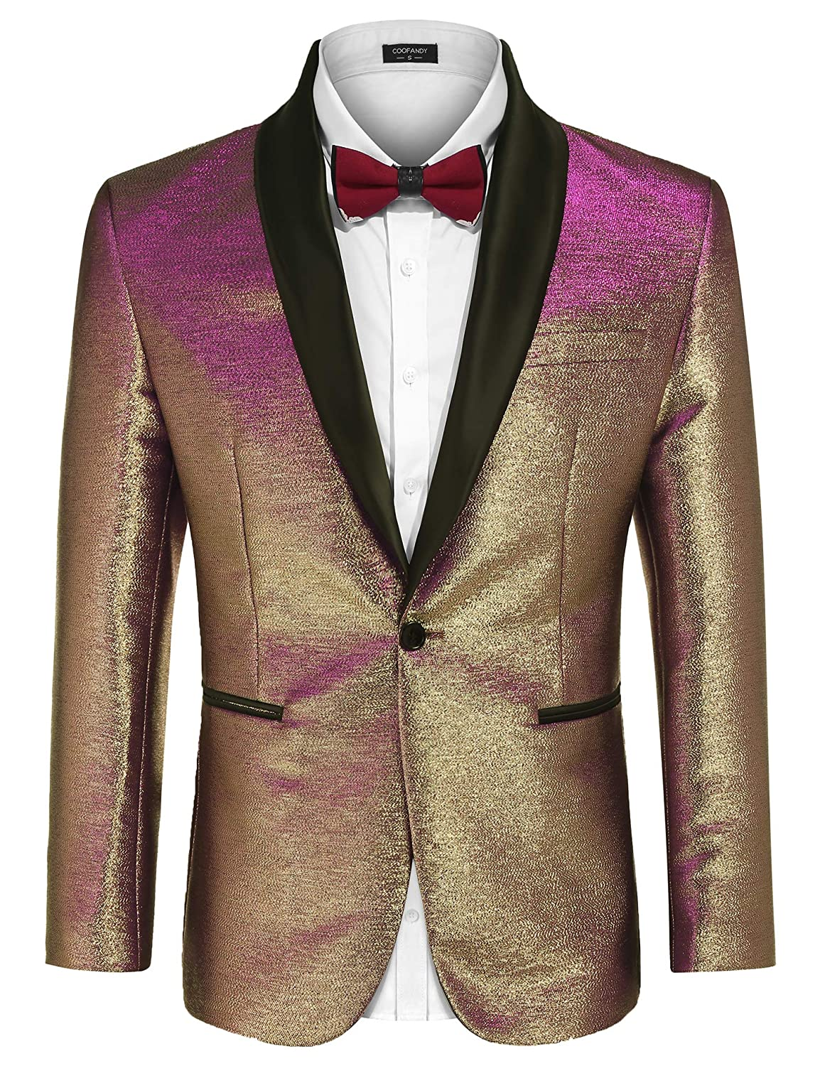 d387a36b266 COOFANDY Men s Fashion Suit Jacket Blazer One Button Luxury Weddings Party  Dinner Prom Tuxedo Gold Silver at Amazon Men s Clothing store