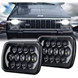105W 5x7 7x6 Inch High Low Beam Led Headlights Compatible with Jeep Wrangler YJ Cherokee XJ H6054 H5054 H6054LL 69822 6052 6053 with Angel Eyes DRL (Black, 2PCS)