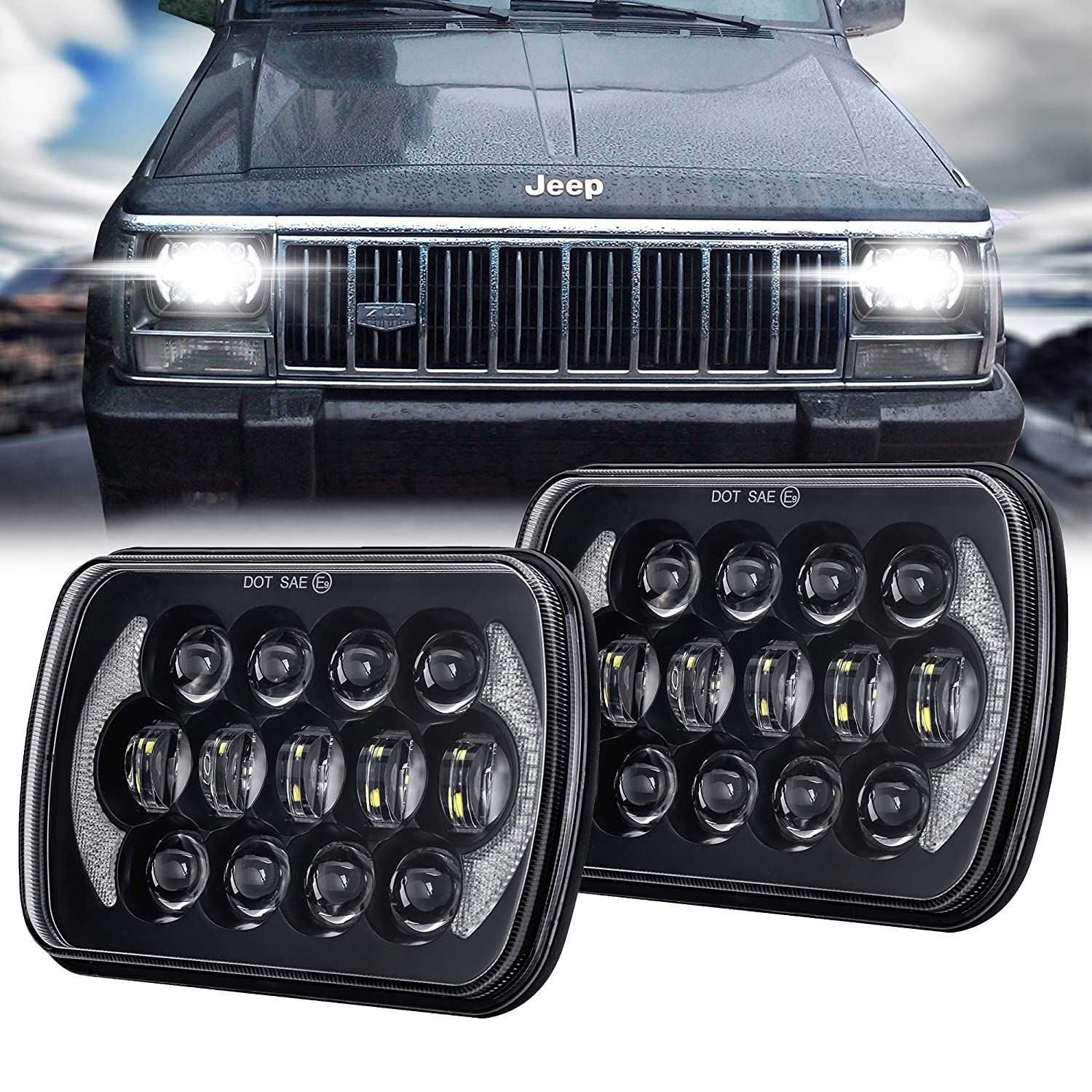 105W 5x7 7x6 Inch High Low Beam Led Headlights for Jeep Wrangler YJ Cherokee XJ H6054 H5054 H6054LL 69822 6052 6053 with Angel Eyes DRL Black Pair