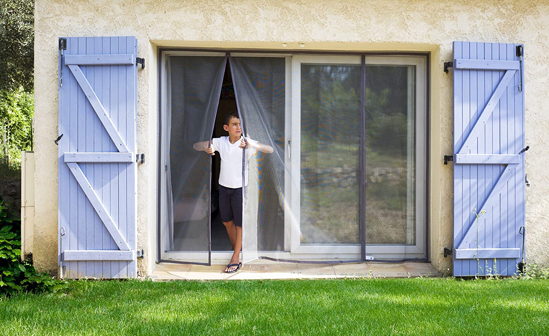 moustiquaire fibre de verre automatique Moustiquaire ajustable aimant/ée TRANQUILISAFE/® pour portes et portes fen/êtres protection anti moustique L 120//136 - H 217//225 moustiquaire magn/étique