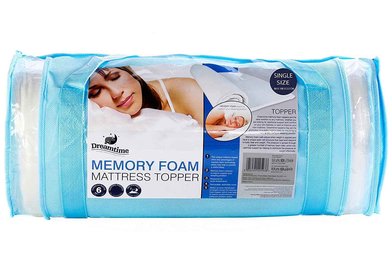 Dreamtime Dreamtime Dreamtime Matratzenauflage, Memory-Schaum, 2.5 cm, Standard, Doppelte Matratzenauflage, weiß 2bffc8
