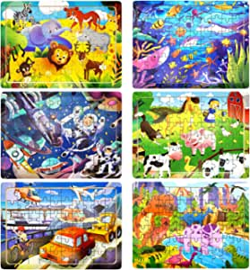 Rompecabezas de Madera Niños, 6 Paquetes 60 Piezas Puzzle