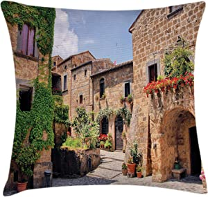 Ambesonne Tuscany Throw Pillow Cushion Cover, Italian Streets in Countryside with Traditional Brick Houses Old Tuscan Prints, Decorative Square Accent Pillow Case, 18