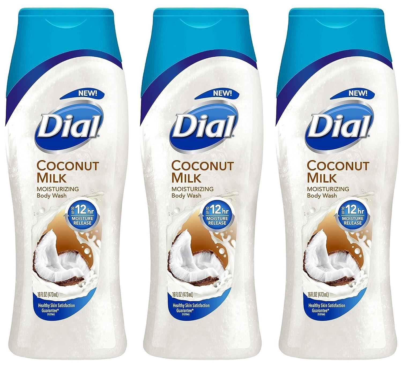 Dial Moisturizing Body Wash - Coconut Milk - 12 HR Moisture Release - Net Wt. 16 FL OZ (473 mL) Per Bottle - Pack of 3 Bottles