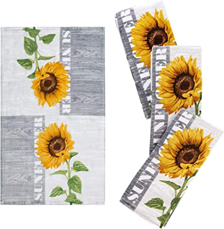 Set of Soft and Absorbent Sunflower Cotton Dish Towels