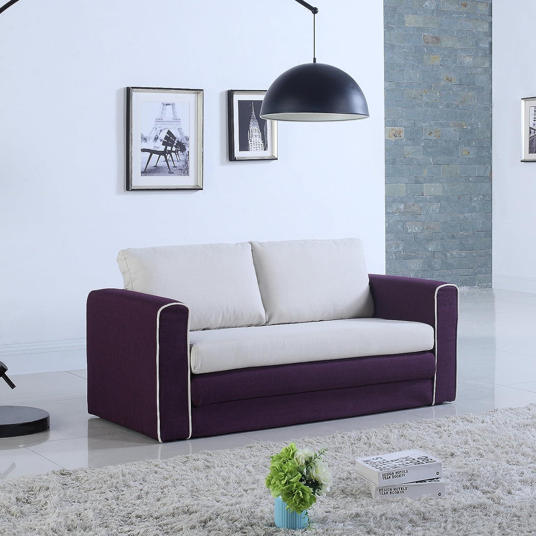 Amazon.com: Modern 2 Tone Modular / Convertible Sleeper (Purple / Beige):  Kitchen U0026 Dining