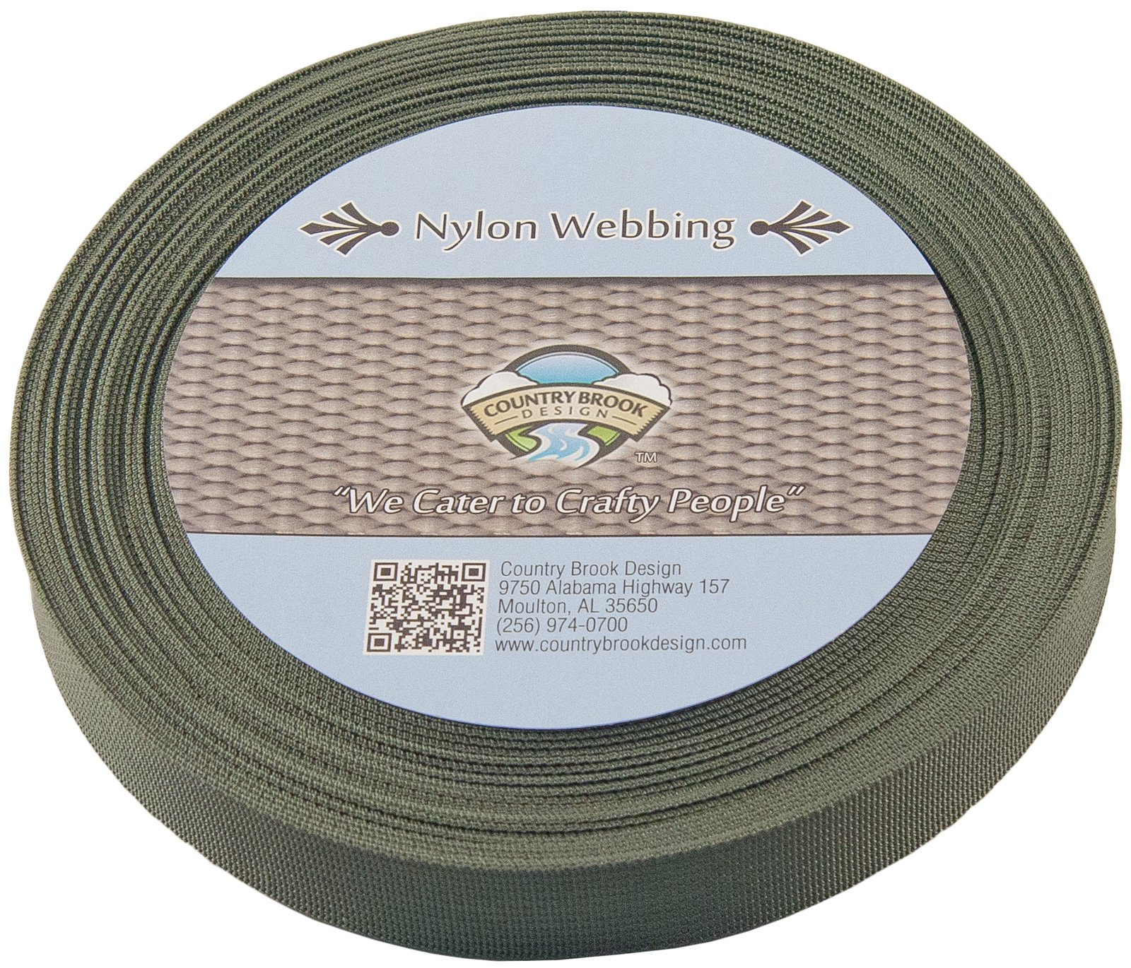 Country Brook Design 1 Inch Olive Drab Green Lite Weight Nylon Webbing, 25 Yards