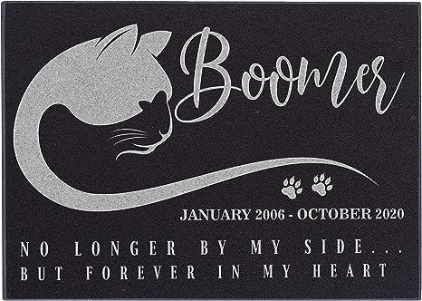 Personalized Longhaired Cat Granite Pet Memorial 12x12 Custom Engraved Grave Marker Headstone Plaque Carmila