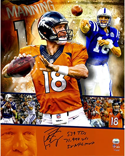 65354c6fe Peyton Manning Denver Broncos Indianapolis Colts Autographed 16 quot  x  20 quot  Collage Photograph with