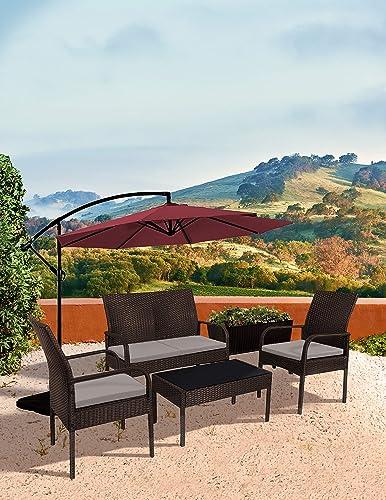 WO WESTIN OUTDOOR Sonoma 4 Piece Wicker All-Weather Resin Rattan Conversation Sofa Set